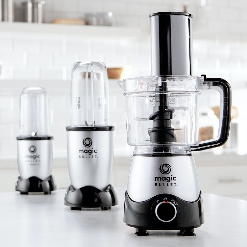 a lineup of magic bullet units and their cup attachments
