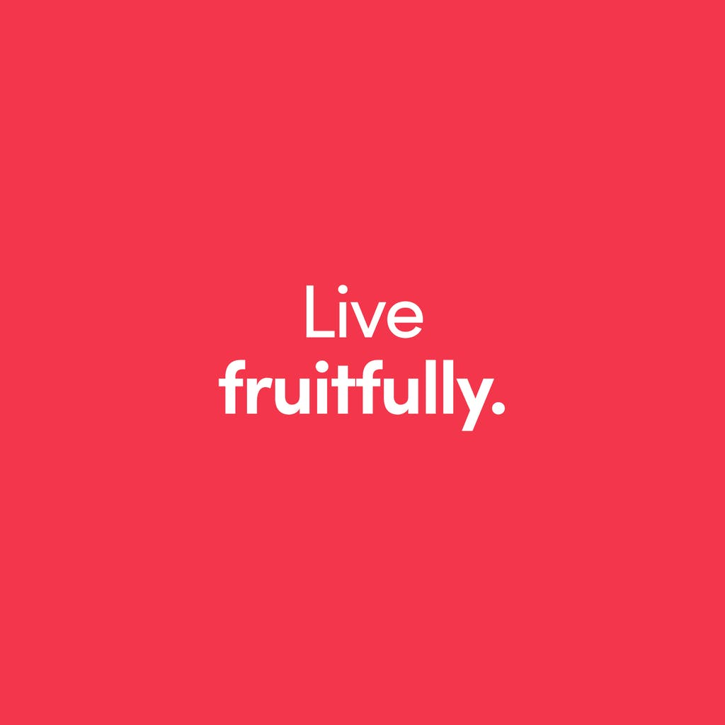 live fruitfully on bold pink background