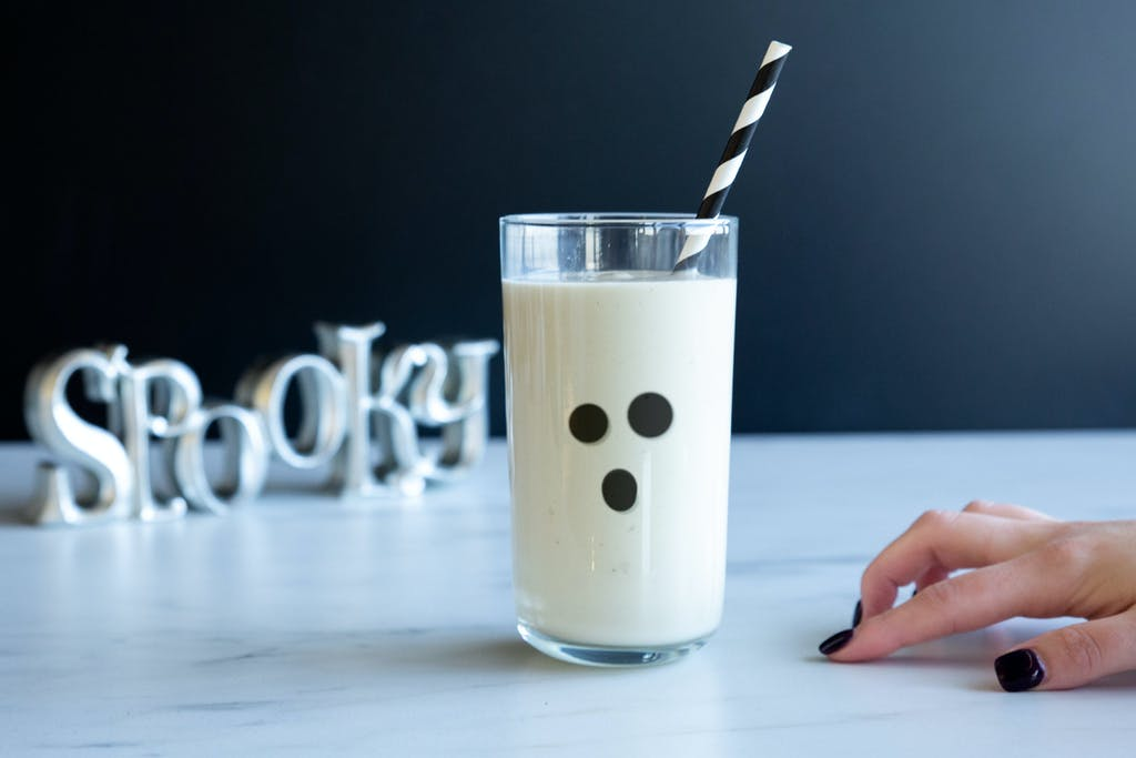 banana smoothie with ghost face for halloween