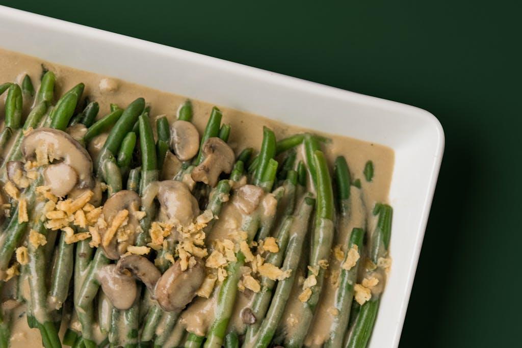 green bean casserole for a healthy thanksgiving dinner