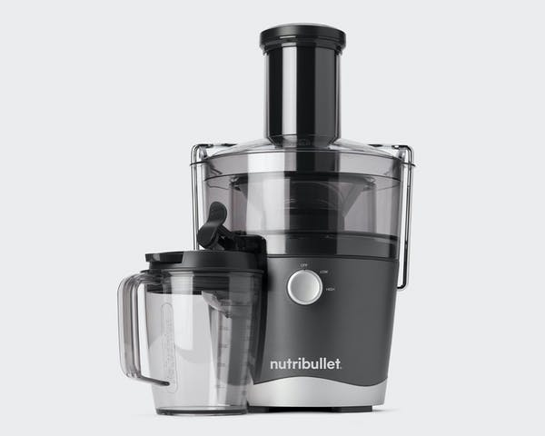 NutriBullet Juicer and cup on gray background
