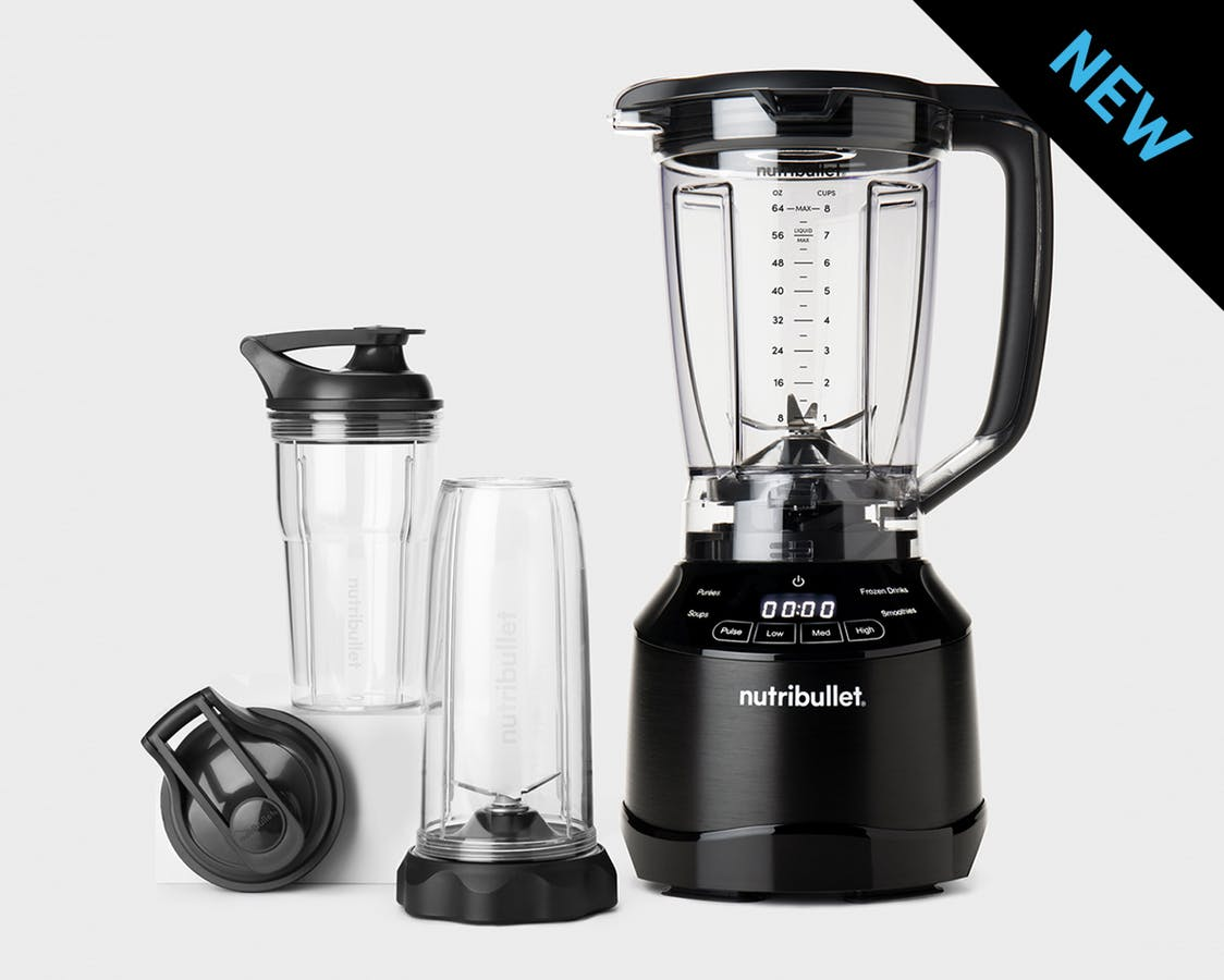 Black empty NutriBullet Smart Touch Blender Combo with pitcher and spare cups and black to go lids with NEW label in corner.