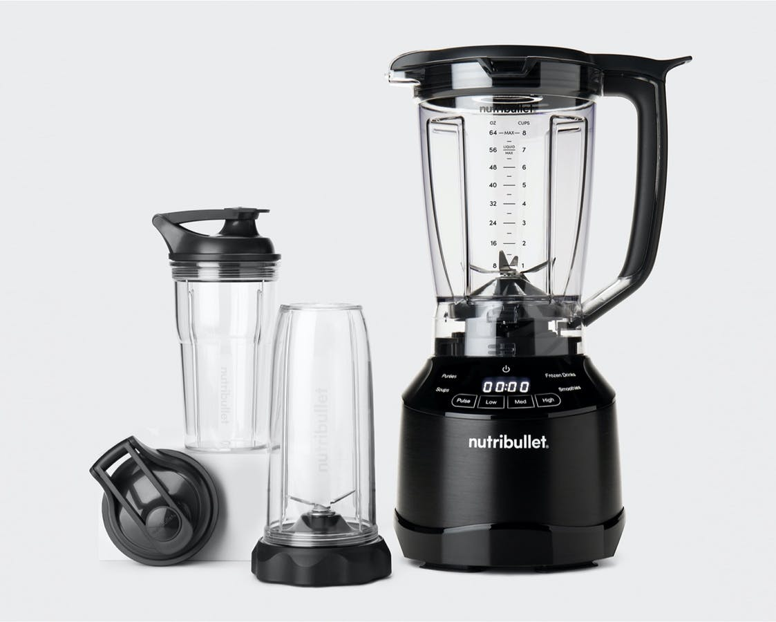 Black empty nutribullet Smart Touch Blender Combo with pitcher and spare cups and black to go lids.